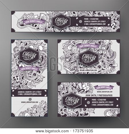 Corporate Identity vector templates set design with doodles hand drawn Idea theme. Line art banner, id cards, flayer design. Templates set