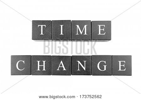 Black wooden cubes with space for text on white background