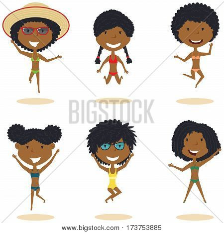 Cute African-Amercian female characters jumping on the beach vector illustration. Cheerful young girls make a jump on a white background. Happy teenagers on summer vacation.