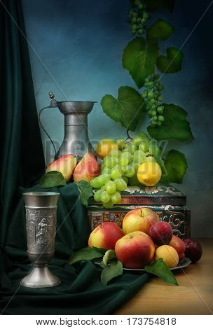 still life fruit colors classic Dutch style of painting wine
