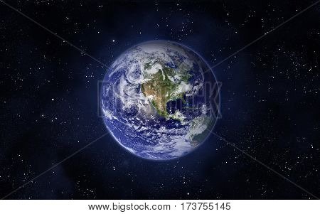 Space and planet Earth. Western hemisphere. This image elements furnished by NASA.