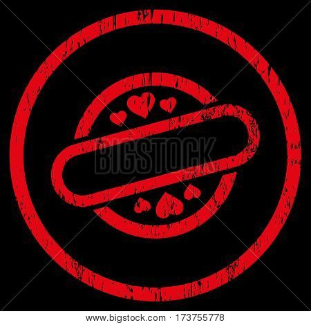Love Stamp Seal grainy textured icon for overlay watermark stamps. Rounded flat vector symbol with dirty texture. Circled red ink rubber seal stamp with grunge design on a black background.
