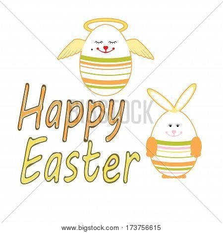 Easter card with cute eggs - vector illustration