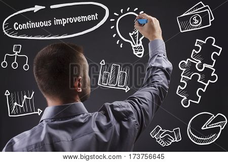Technology, Internet, Business And Marketing. Young Business Man Writing Word: Continuous Improvemen