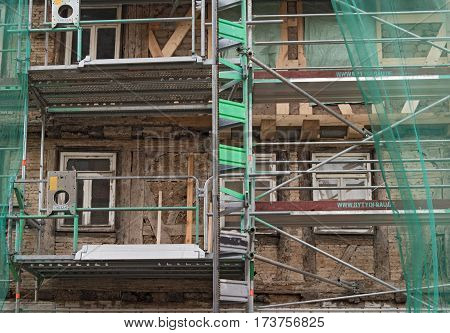 FRANKFURT, GERMANY-FEBRUARY 25, 2017: Renovation of an old half -timbered house