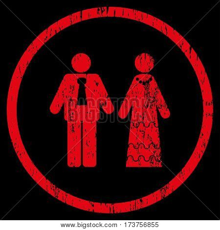 Newlyweds grainy textured icon for overlay watermark stamps. Rounded flat vector symbol with dirty texture. Circled red ink rubber seal stamp with grunge design on a black background.