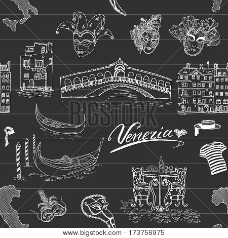 Venice Italy seamless pattern. Hand drawn sketch with map of Italy gondolas gondolier clothes carnival venetian masks houses bridge cafe table and chairs. Doodle drawing on chalkboard background