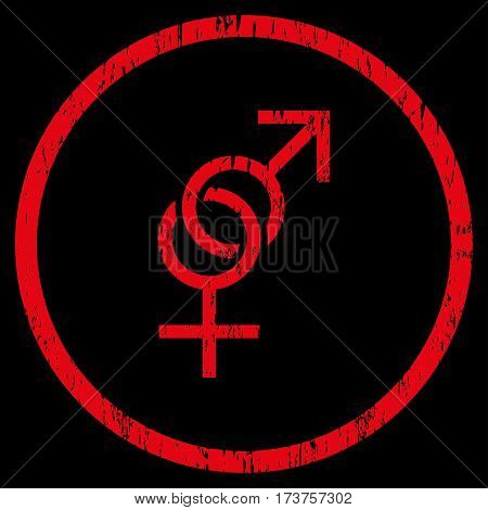 Sex Symbol grainy textured icon for overlay watermark stamps. Rounded flat vector symbol with scratched texture. Circled red ink rubber seal stamp with grunge design on a black background.