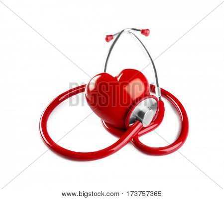 Stethoscope and red plastic heart isolated on white. Cardiology concept poster