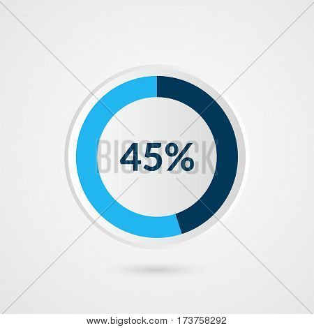 45 percent blue grey and white pie chart. Percentage vector infographics. Circle diagram business illustration