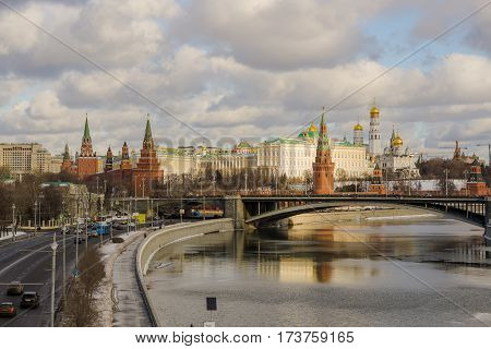 Moscow, Russia - January 21, 2017: Big Stone bridge over the river Moscow Prechistenskaya on the waterfront next to the Moscow Kremlin