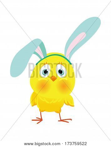 Funny chicken in bunny ears for Easter decoraction, Cartoon vector clipart