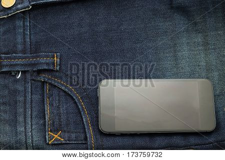 Rather Old Blue Jean Have Stripe And Smart Phone