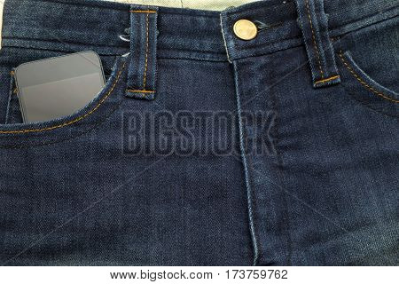 Rather Old Blue Jean Have Stripe And Smart Phone Inside Pocket