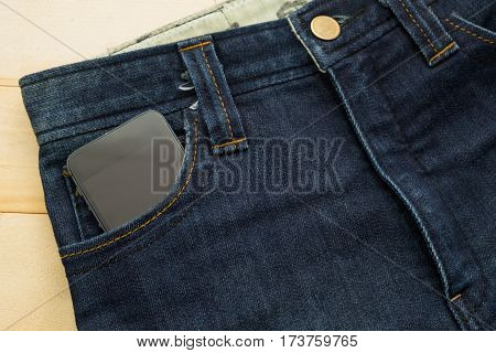Rather Old Blue Jean Have Stripe And Smart Phone Inside Pocket