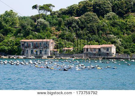 Palmaria island (Portovenere), Italy - 7 July 2015: Mussel aquaclture on Palmaria island near Portovenere on Italy