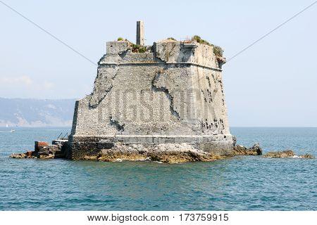 School Tower At Palmaria Island Near Portovenere