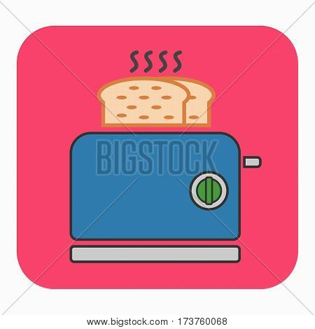 A toaster icon. This illustration shows a flat color icon for web.
