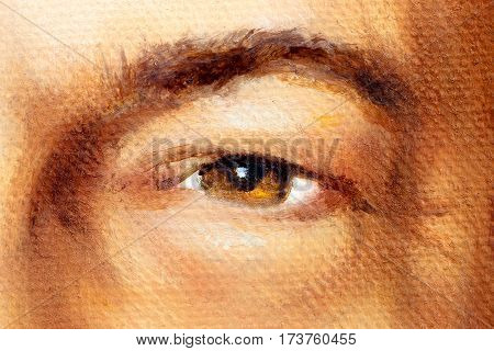 Hazel Brown Man Eye In Detail, Oil Painting.