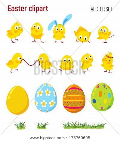Set of Easter cute funny chicks, decorative eggs, and green grass, Isolated vector elements for decoration
