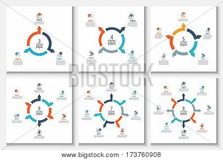 Vector arrows infographic. Template for cycle diagram, graph, presentation and round chart. Business concept with 3, 4, 5, 6, 7 and 8 options, parts, steps or processes. Stroke icons.