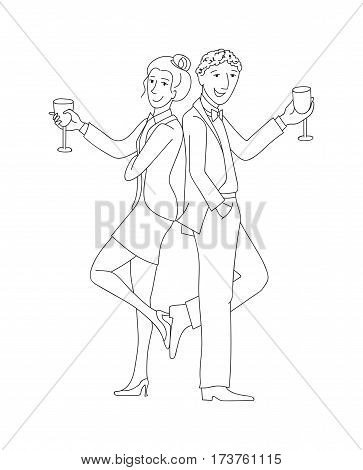 Man and woman in formal suits with wine glasses, Thin line doodle style cartoon vector illustration