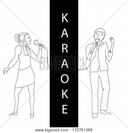 Woman and man singing into microphone, Couple sing in karaoke party, Line doodle style vector