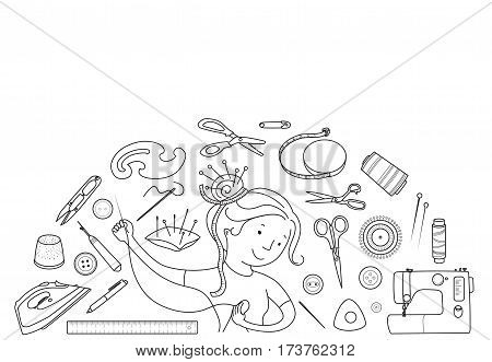Seamstress girl and sewing or tailoring tools, sewing machine, needles black line vector half round concept