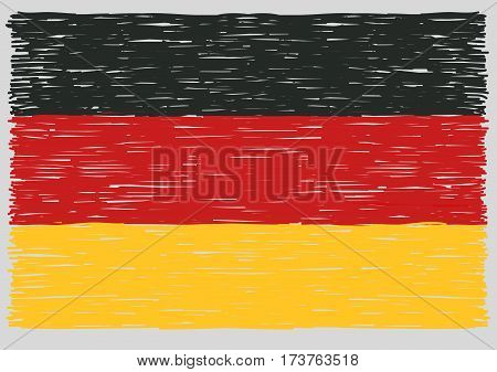Hand drawn german flag. Concept of travel or study german