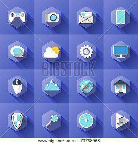 nice collection of modern icon. simple illustration of different icons in flat style with soft long shadow. vector set of symbols design. can be used for web design, web site, app mobile or widget.