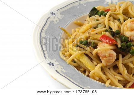 Closeup the spaghetti noodle with the shrimp