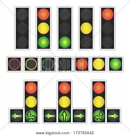 Road Traffic Light Vector. Realistic LED Panel. Sequence Lights Red, Yellow, Green. Go, Wait, Stop Signals Isolated On White