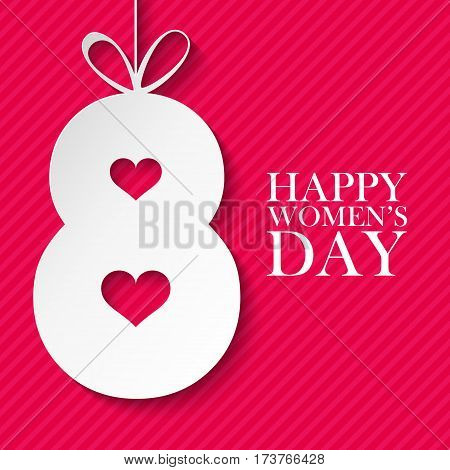 8 March international happy women's day celebration card. Vector illustration.