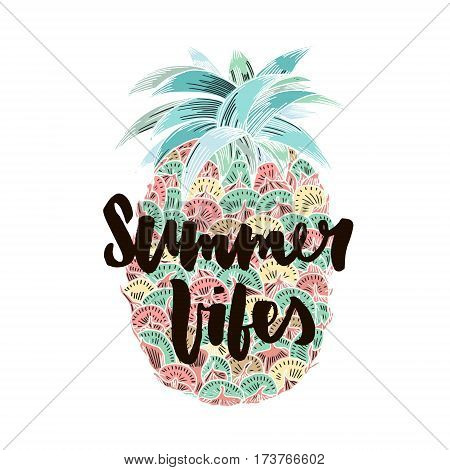 Summer vibes hand written lettering for poster card photo overlay. Brush texture. Isolated on white background. Vector illustration.