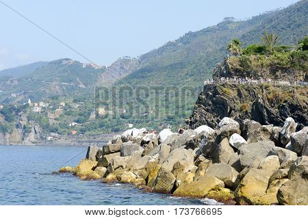 People Walking To The Viewpoint At The Village Of Manarola