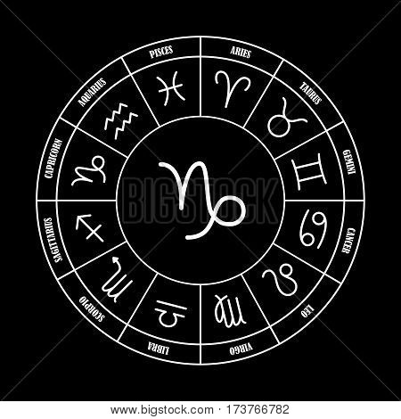 Capricorn astrology sing in zodiac circle on the black background set of astrology sings