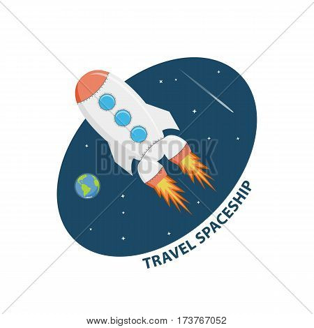 Symbol space flights and research. Icon travel on spaceship. Cartoon sticker explore space isolated on a white background. Vector illustration in flat style.