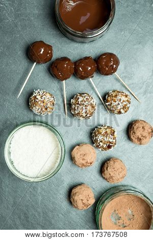Overhead Of Protein Energy Balls And Chocolate And Coconut