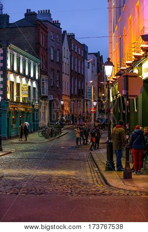 Dublin, Ireland- 19 Feb 2017: Traditional Irish pub The Norseman Pub Temple Bar, Essex Street, Dublin