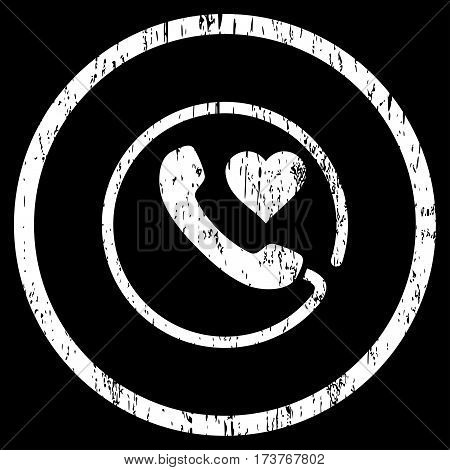 Love Phone grainy textured icon for overlay watermark stamps. Rounded flat vector symbol with dirty texture. Circled white ink rubber seal stamp with grunge design on a black background.