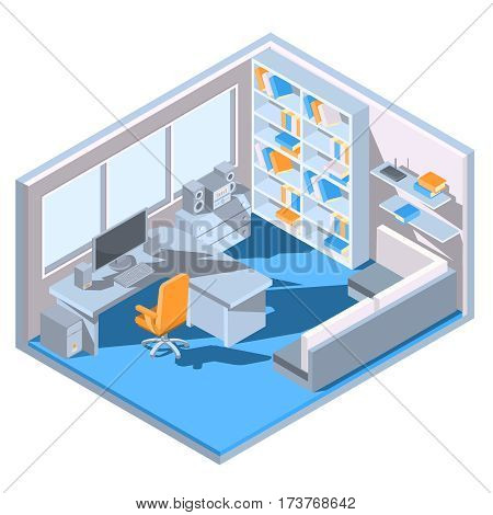 Vector isometric illustration design of a home office room with a sofa, desk, bookshelf, chair, books, computer.