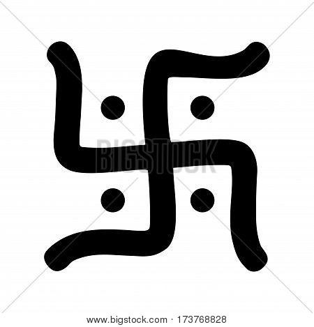 black hindu swastika religious symbol over white