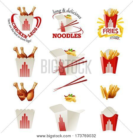 Set of vector beautiful fast food icons of fried chicken, Chinese noodles, french fries in a realistic style isolated on white background.
