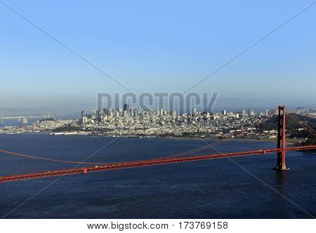 Golden Gate Bridge in San Francisco on a background of San Francisco