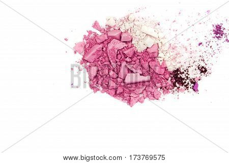Eyeshadow Cosmetic Powder Scattered Copy Space. various set isolated on white background. The concept fashion and beauty industry. Abstract, place for text, the texture mineral makeup