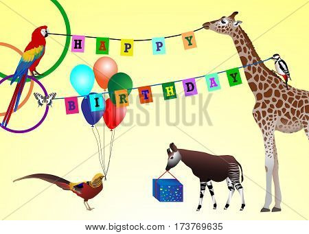 Happy birthday picture: animals with gifts and decorations