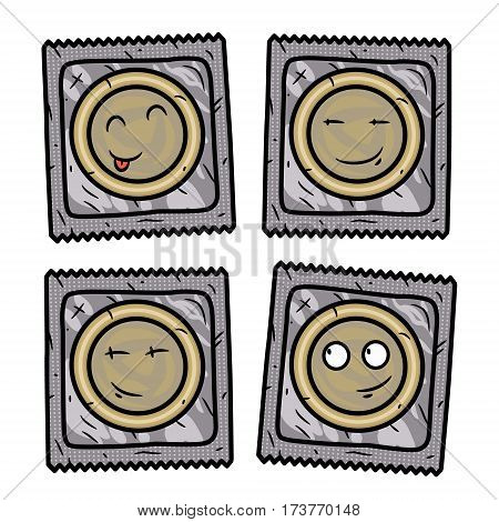 Set of condom. Cartoon condom set. Vector cartoon comic characters