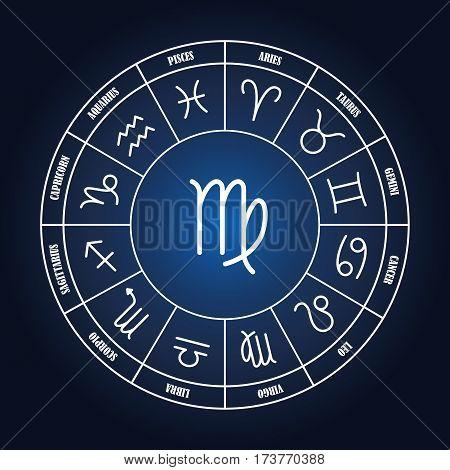 Virgo astrology sing in zodiac circle on the dark blue background set of astrology sings