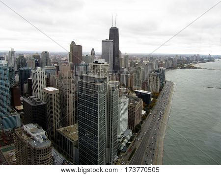 Aerial view of John Hancock Center and Lake Michigan Chicago