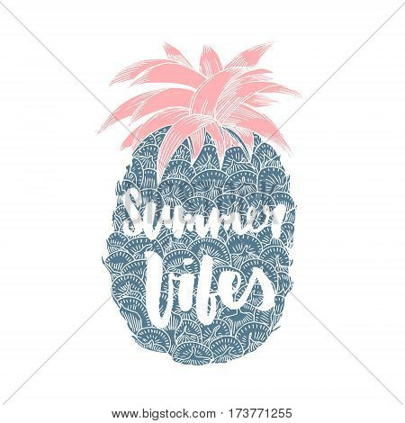 Summer vibes. Hand written lettering quote for poster card photo overlay. Brush texture. Isolated on white background. Vector illustration.